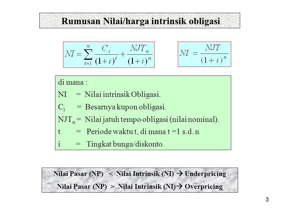 3 Rumusan Nilai/harga intrinsik obligasi di mana : NI = Nilai intrinsik Obligasi. C i = Besarnya kupon obligasi. NJT n = Nilai jatuh tempo obligasi (n
