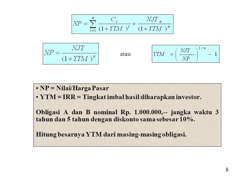 5 NP = Nilai/Harga Pasar YTM = IRR = Tingkat imbal hasil diharapkan investor. Obligasi A dan B nominal Rp. 1.000.000,-- jangka waktu 3 tahun dan 5 tah