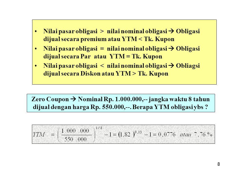 8 Nilai pasar obligasi > nilai nominal obligasi  Obligasi dijual secara premium atau YTM < Tk. Kupon Nilai pasar obligasi = nilai nominal obligasi 