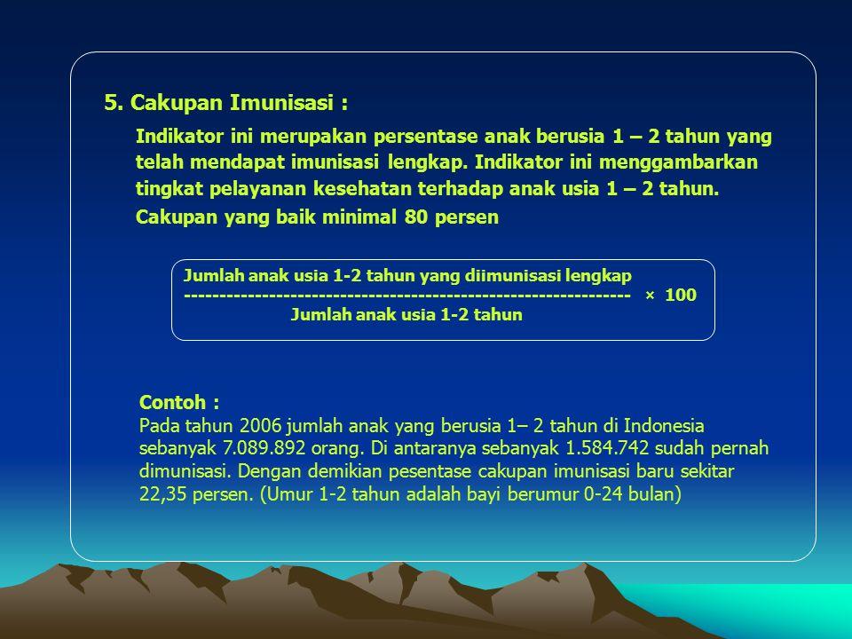 5. Cakupan Imunisasi : Indikator ini merupakan persentase anak berusia 1 – 2 tahun yang telah mendapat imunisasi lengkap. Indikator ini menggambarkan