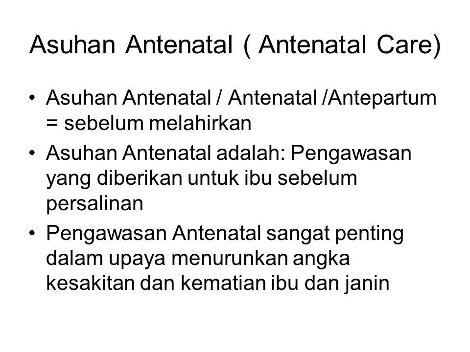 Asuhan Antenatal ( Antenatal Care) Asuhan Antenatal / Antenatal /Antepartum = sebelum melahirkan Asuhan Antenatal adalah: Pengawasan yang diberikan un