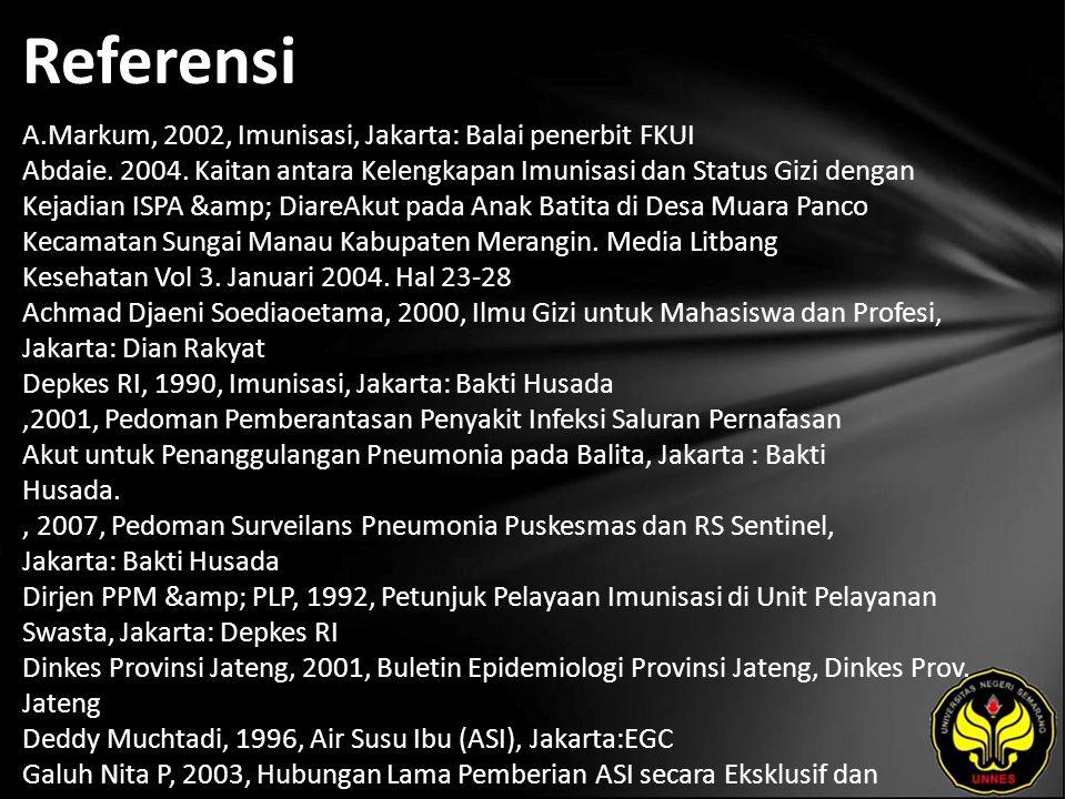 Referensi A.Markum, 2002, Imunisasi, Jakarta: Balai penerbit FKUI Abdaie. 2004. Kaitan antara Kelengkapan Imunisasi dan Status Gizi dengan Kejadian IS