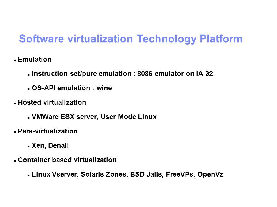 Software virtualization Technology Platform Emulation Instruction-set/pure emulation : 8086 emulator on IA-32 OS-API emulation : wine Hosted virtualization VMWare ESX server, User Mode Linux Para-virtualization Xen, Denali Container based virtualization Linux Vserver, Solaris Zones, BSD Jails, FreeVPs, OpenVz