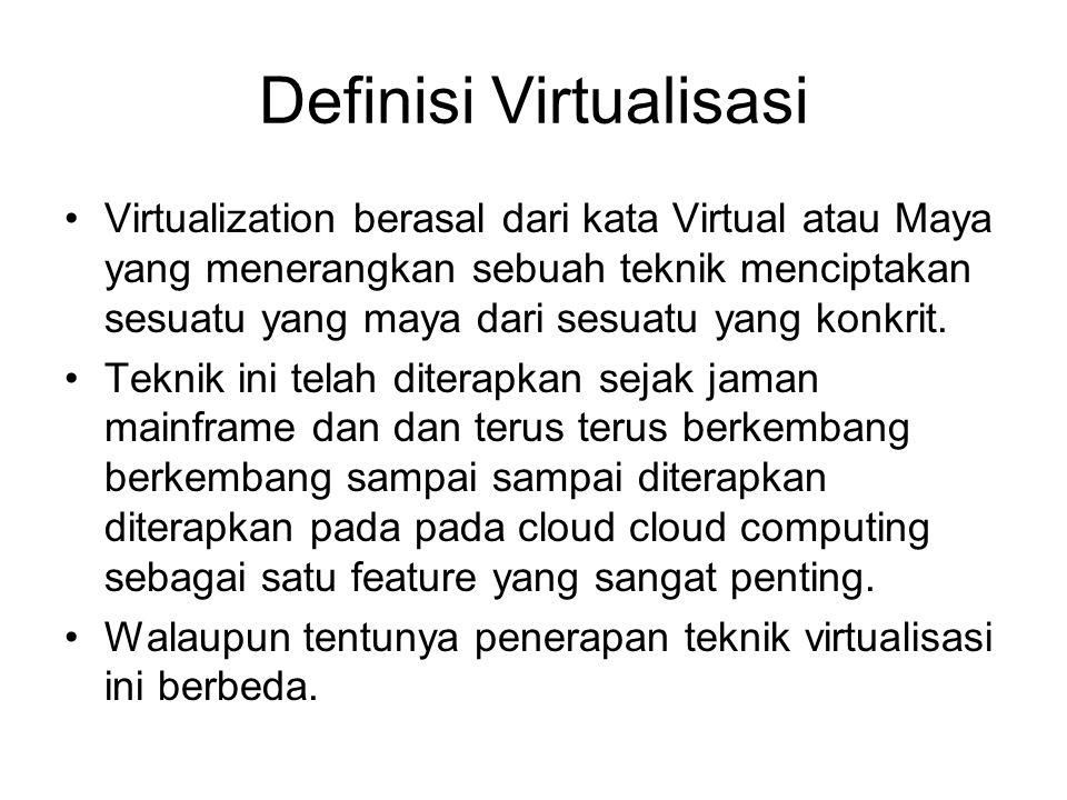 Definisi Virtualisasi Virtualization berasal dari kata Virtual atau Maya yang menerangkan sebuah teknik menciptakan sesuatu yang maya dari sesuatu yang konkrit.