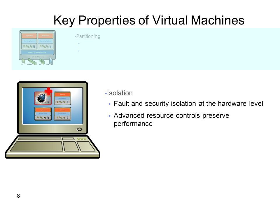 29 Ensure High availability with VMware HA Resource Pool X VMware HA automatically restarts virtual machines when a physical server fails