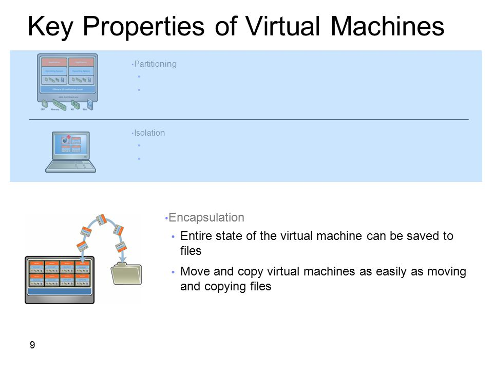9 Key Properties of Virtual Machines Partitioning  Run multiple operating systems on one physical machine  Divide system resources between virtual m