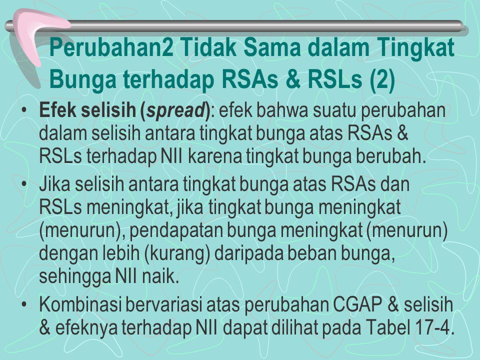 Perubahan2 Tidak Sama dalam Tingkat Bunga terhadap RSAs & RSLs (2) Efek selisih ( spread ) : efek bahwa suatu perubahan dalam selisih antara tingkat b