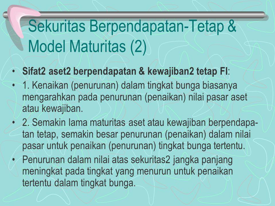 Sekuritas Berpendapatan-Tetap & Model Maturitas (2) Sifat2 aset2 berpendapatan & kewajiban2 tetap FI : 1. Kenaikan (penurunan) dalam tingkat bunga bia