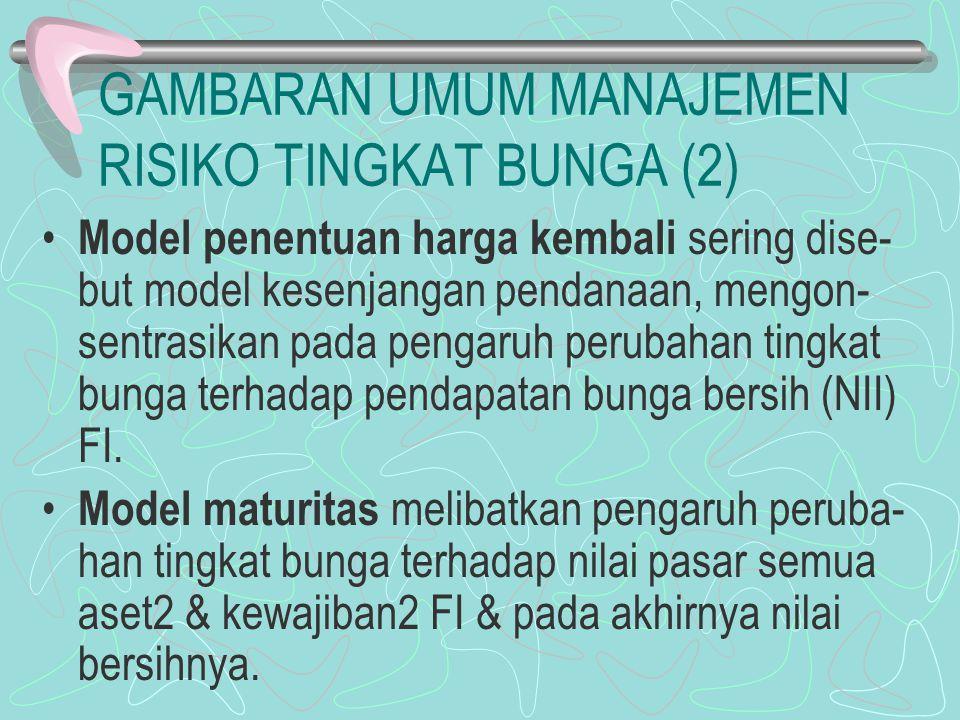 GAMBARAN UMUM MANAJEMEN RISIKO TINGKAT BUNGA (2) Model penentuan harga kembali sering dise- but model kesenjangan pendanaan, mengon- sentrasikan pada