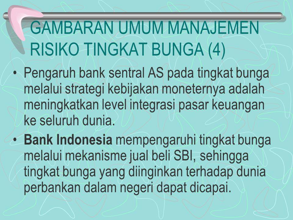GAMBARAN UMUM MANAJEMEN RISIKO TINGKAT BUNGA (4) Pengaruh bank sentral AS pada tingkat bunga melalui strategi kebijakan moneternya adalah meningkatkan