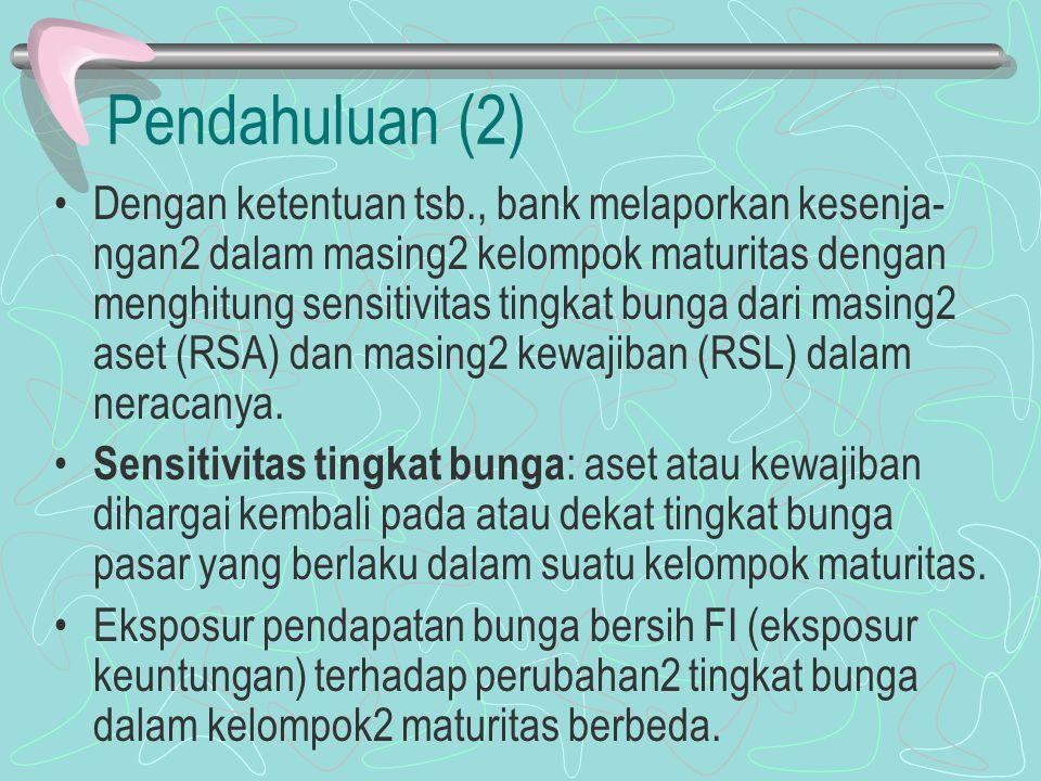 Pendahuluan (2) Dengan ketentuan tsb., bank melaporkan kesenja- ngan2 dalam masing2 kelompok maturitas dengan menghitung sensitivitas tingkat bunga da