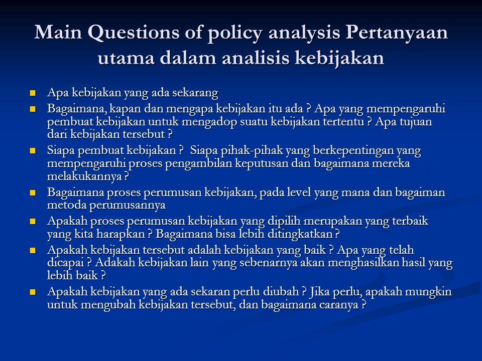 Main Questions of policy analysis Pertanyaan utama dalam analisis kebijakan Apa kebijakan yang ada sekarang Apa kebijakan yang ada sekarang Bagaimana, kapan dan mengapa kebijakan itu ada .