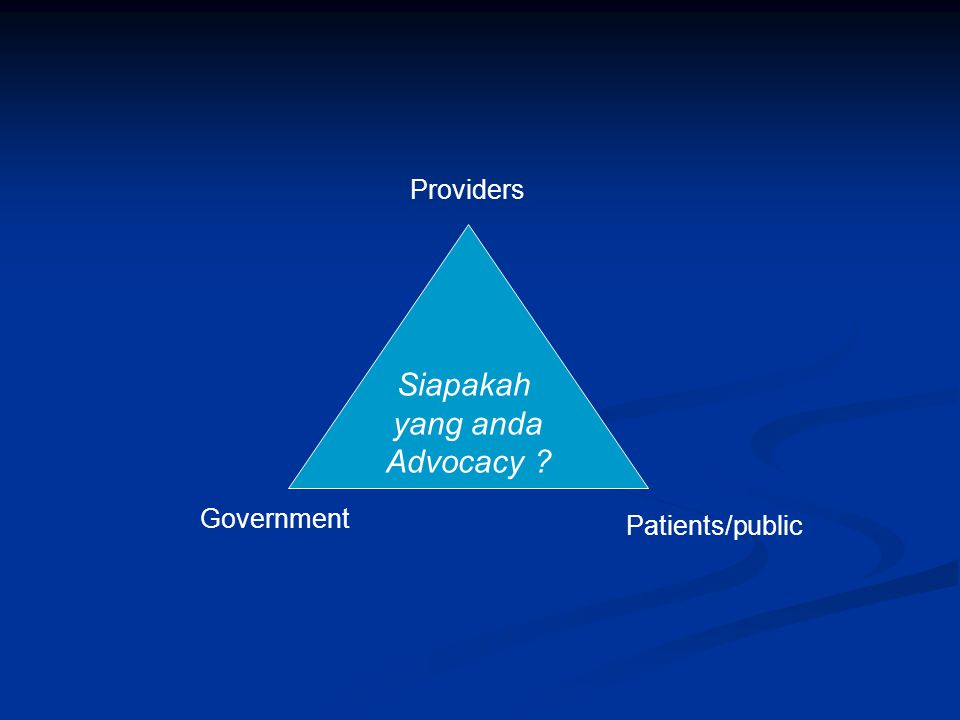 Siapakah yang anda Advocacy ? Patients/public Providers Government
