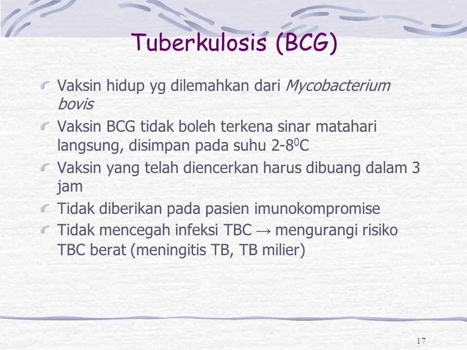 Tuberkulosis (BCG) Vaksin hidup yg dilemahkan dari Mycobacterium bovis Vaksin BCG tidak boleh terkena sinar matahari langsung, disimpan pada suhu 2-8