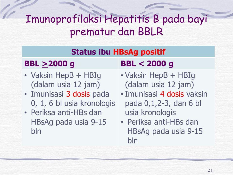 Imunoprofilaksi Hepatitis B pada bayi prematur dan BBLR 21 Status ibu HBsAg positif BBL >2000 gBBL < 2000 g Vaksin HepB + HBIg (dalam usia 12 jam) Imu