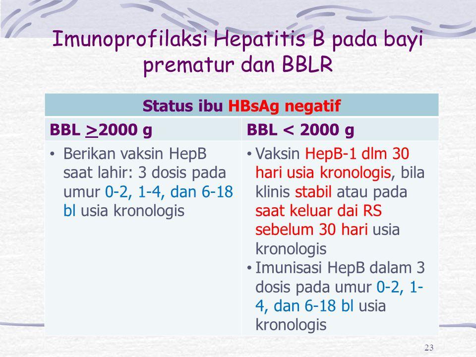 Imunoprofilaksi Hepatitis B pada bayi prematur dan BBLR 23 Status ibu HBsAg negatif BBL >2000 gBBL < 2000 g Berikan vaksin HepB saat lahir: 3 dosis pa