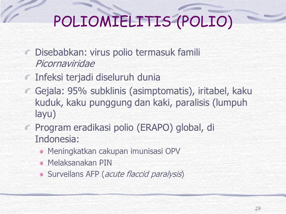 POLIOMIELITIS (POLIO) Disebabkan: virus polio termasuk famili Picornaviridae Infeksi terjadi diseluruh dunia Gejala: 95% subklinis (asimptomatis), iri
