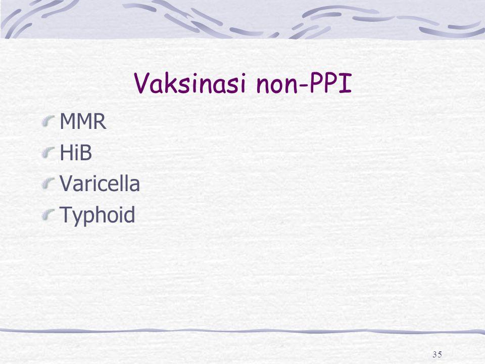 Vaksinasi non-PPI MMR HiB Varicella Typhoid 35