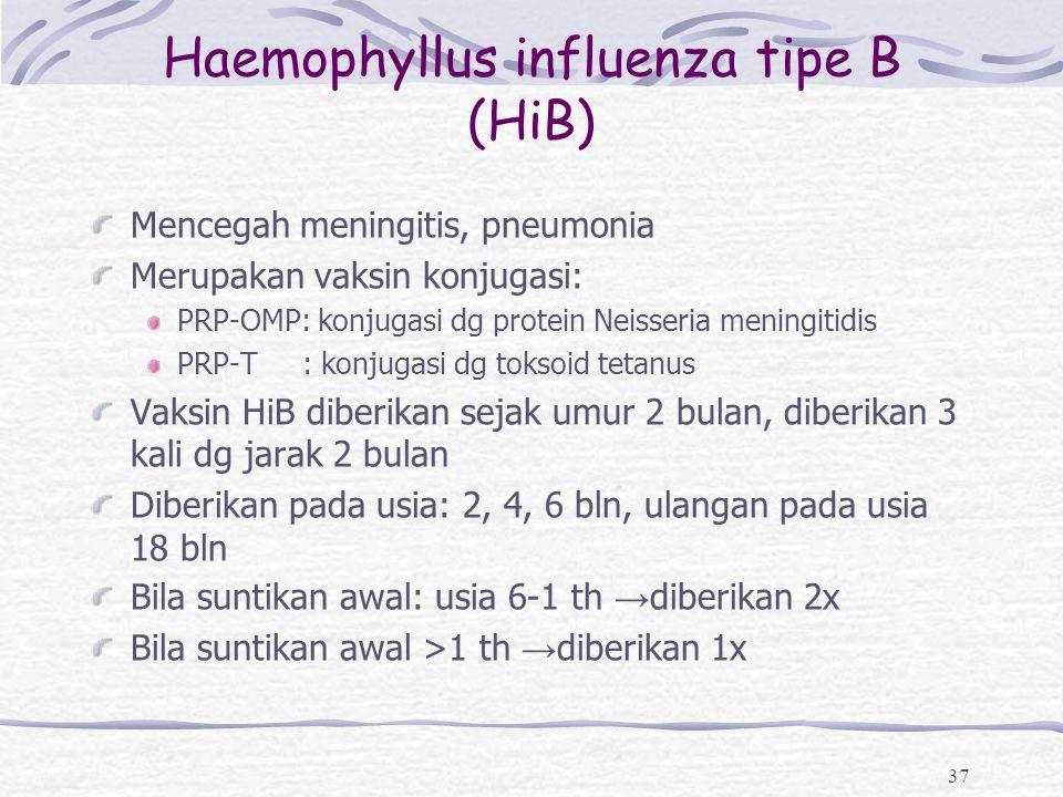 Haemophyllus influenza tipe B (HiB) Mencegah meningitis, pneumonia Merupakan vaksin konjugasi: PRP-OMP: konjugasi dg protein Neisseria meningitidis PR