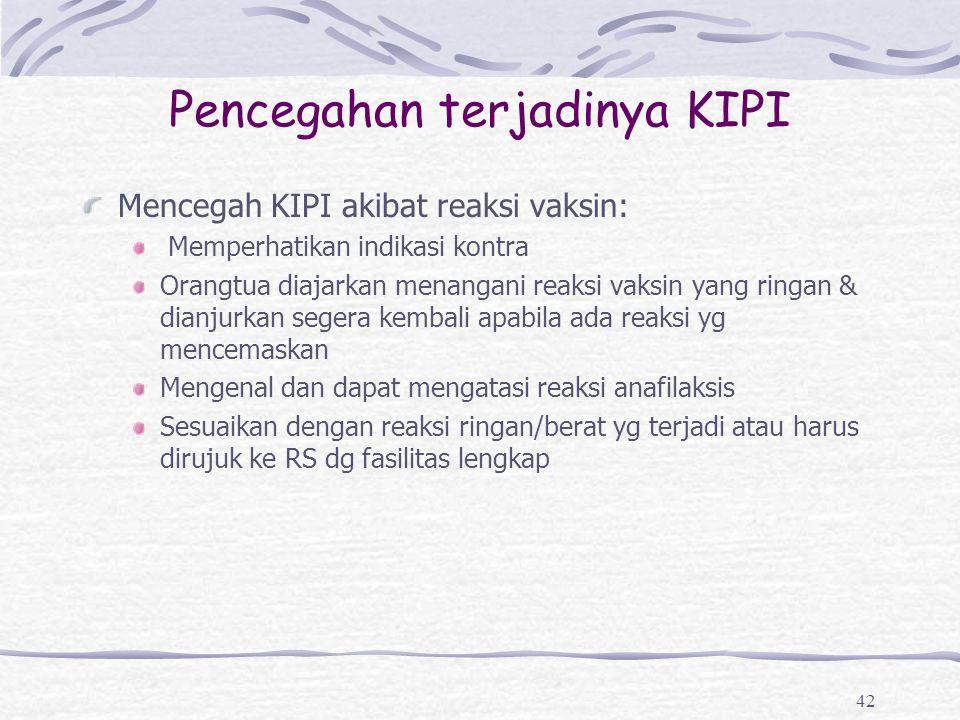 Pencegahan terjadinya KIPI Mencegah KIPI akibat reaksi vaksin: Memperhatikan indikasi kontra Orangtua diajarkan menangani reaksi vaksin yang ringan &