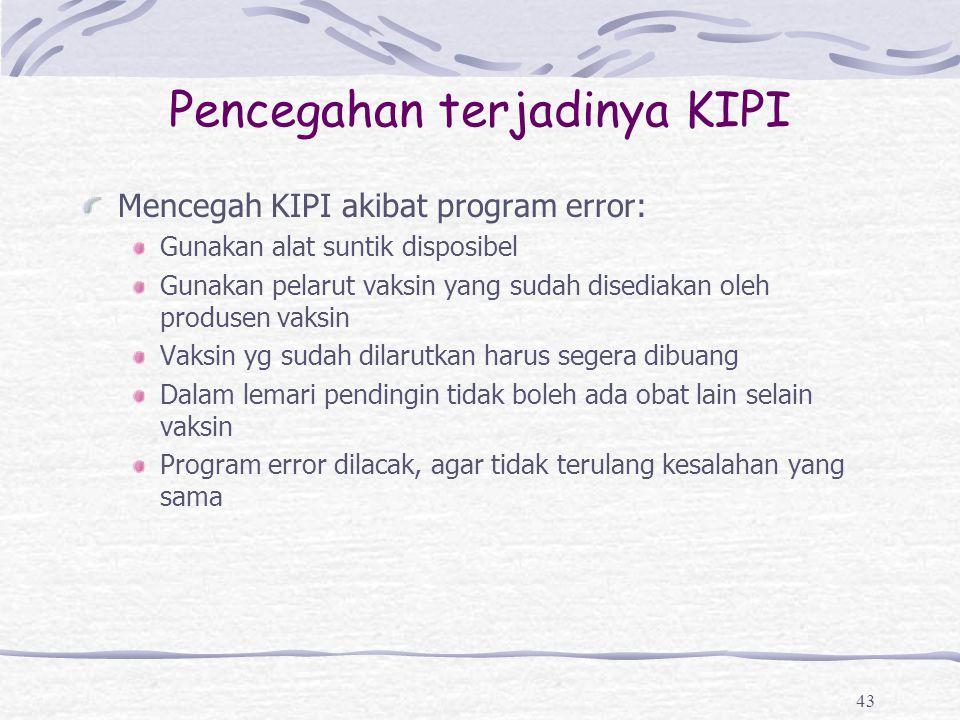 Pencegahan terjadinya KIPI Mencegah KIPI akibat program error: Gunakan alat suntik disposibel Gunakan pelarut vaksin yang sudah disediakan oleh produs
