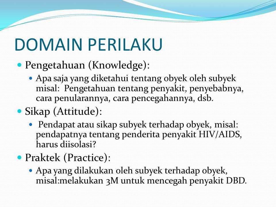 DOMAIN PERILAKU Pengetahuan (Knowledge): Apa saja yang diketahui tentang obyek oleh subyek misal: Pengetahuan tentang penyakit, penyebabnya, cara penu
