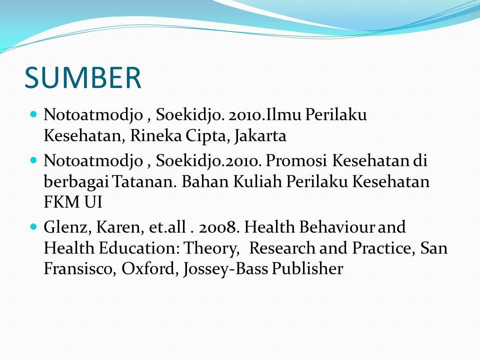 SUMBER Notoatmodjo, Soekidjo. 2010.Ilmu Perilaku Kesehatan, Rineka Cipta, Jakarta Notoatmodjo, Soekidjo.2010. Promosi Kesehatan di berbagai Tatanan. B