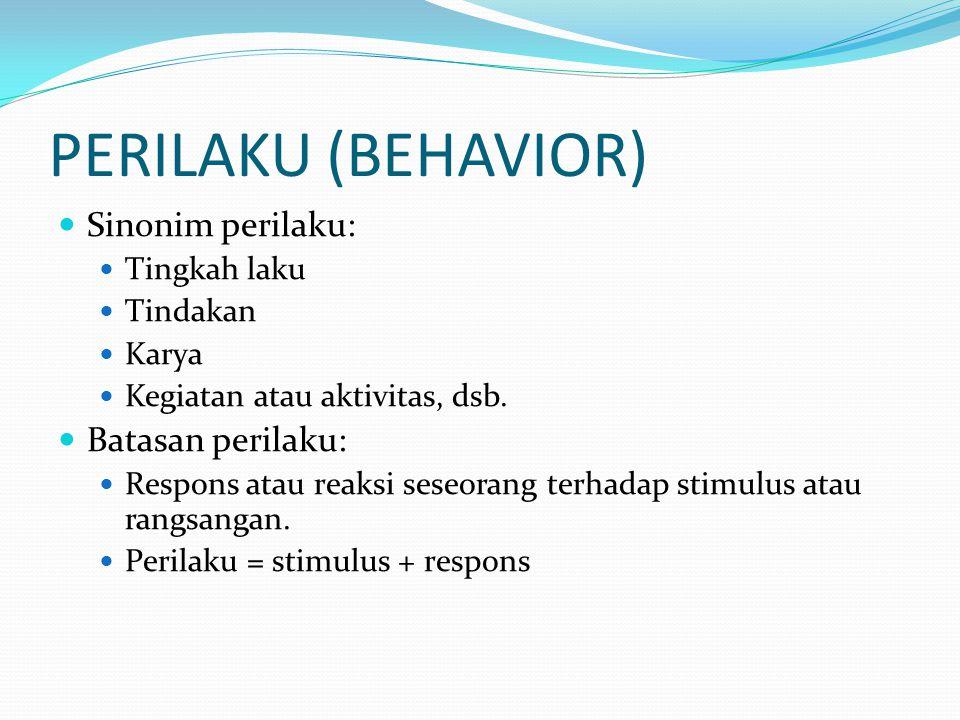 PERILAKU (BEHAVIOR) Sinonim perilaku: Tingkah laku Tindakan Karya Kegiatan atau aktivitas, dsb. Batasan perilaku: Respons atau reaksi seseorang terhad
