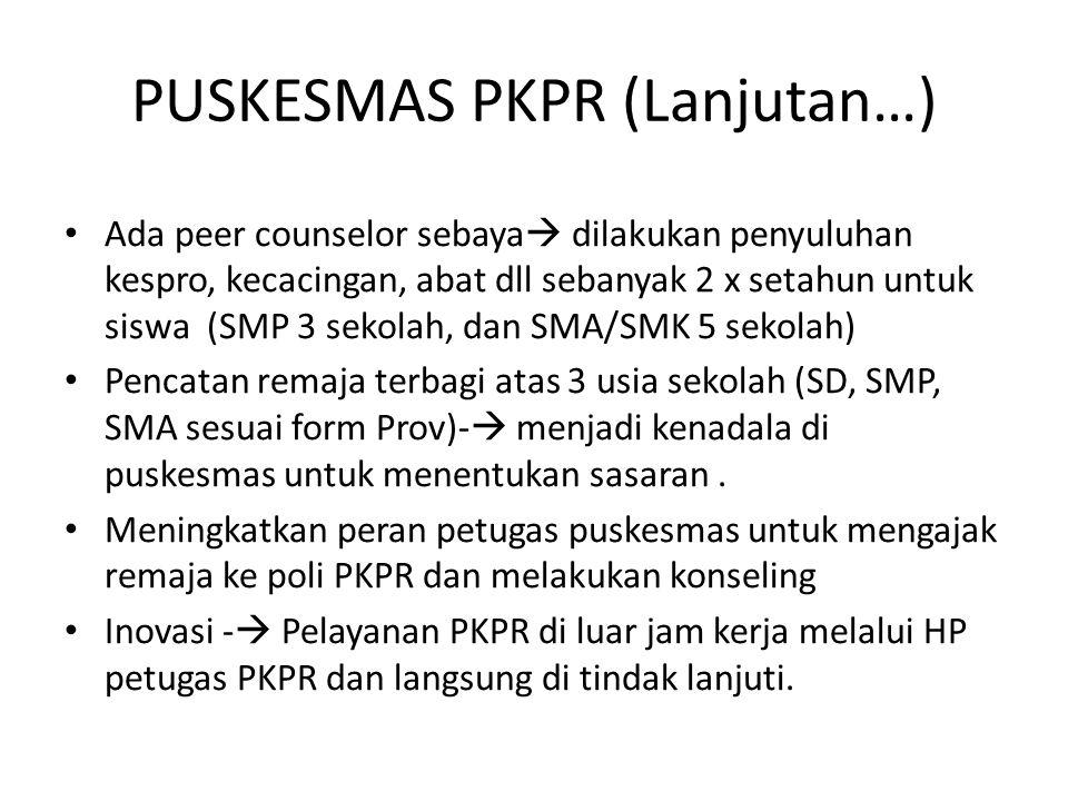 PUSKESMAS PKPR (Lanjutan…) Ada peer counselor sebaya  dilakukan penyuluhan kespro, kecacingan, abat dll sebanyak 2 x setahun untuk siswa (SMP 3 sekol