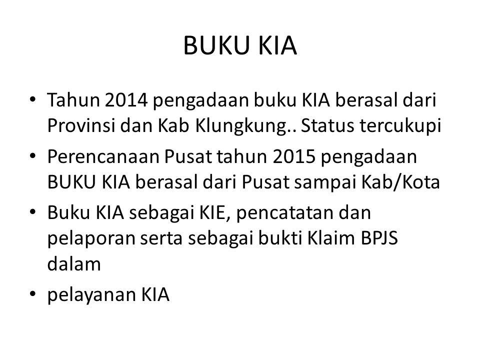 BUKU KIA Tahun 2014 pengadaan buku KIA berasal dari Provinsi dan Kab Klungkung.. Status tercukupi Perencanaan Pusat tahun 2015 pengadaan BUKU KIA bera