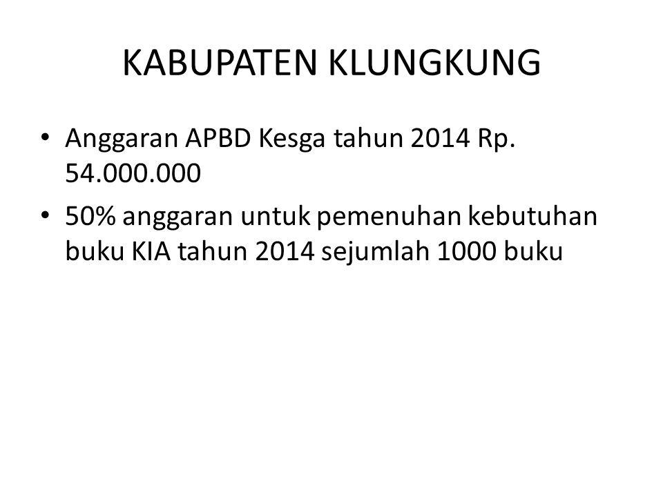 KABUPATEN KLUNGKUNG Anggaran APBD Kesga tahun 2014 Rp. 54.000.000 50% anggaran untuk pemenuhan kebutuhan buku KIA tahun 2014 sejumlah 1000 buku