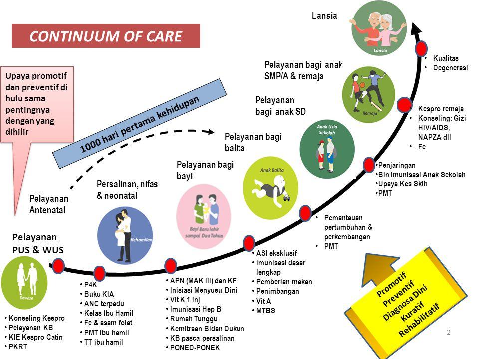 CONTINUUM OF CARE Pelayanan Antenatal Persalinan, nifas & neonatal Pelayanan bagi bayi Pelayanan bagi balita Pelayanan bagi anak SD Pelayanan bagi ana