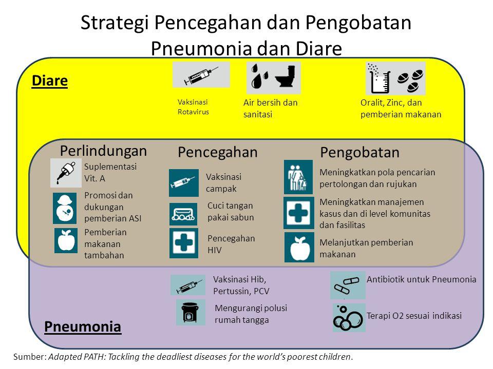 Strategi Pencegahan dan Pengobatan Pneumonia dan Diare Sumber: Adapted PATH: Tackling the deadliest diseases for the world's poorest children. Diare P