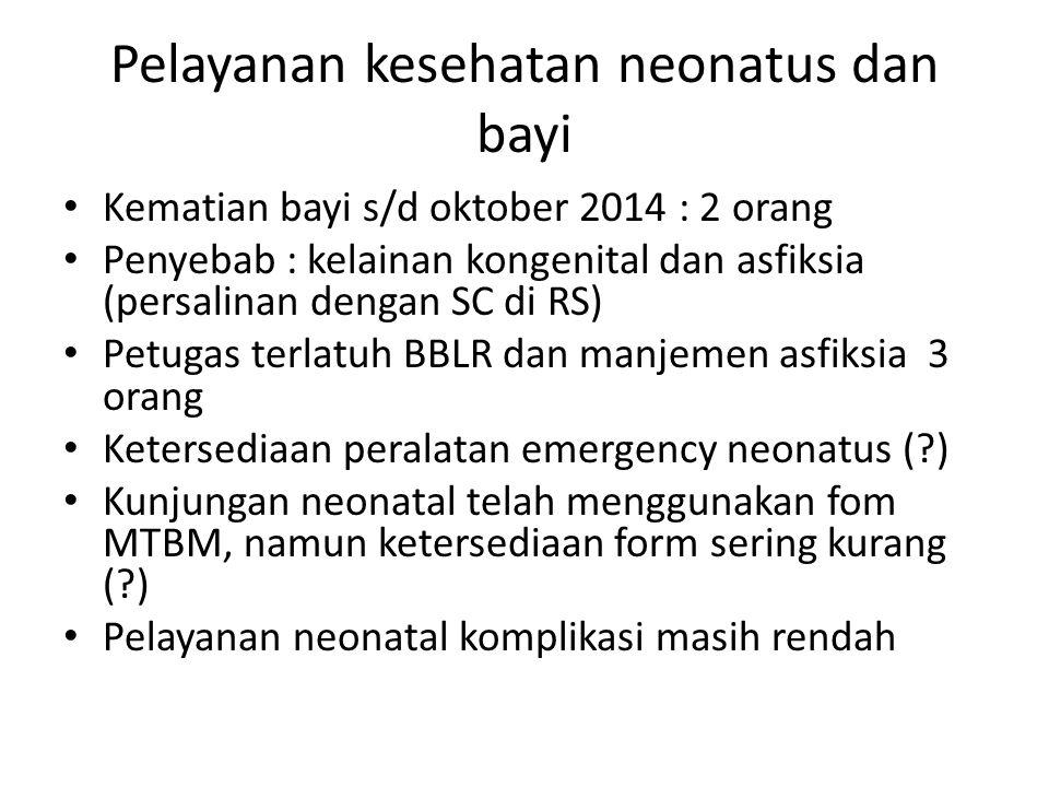 Pelayanan kesehatan neonatus dan bayi Kematian bayi s/d oktober 2014 : 2 orang Penyebab : kelainan kongenital dan asfiksia (persalinan dengan SC di RS