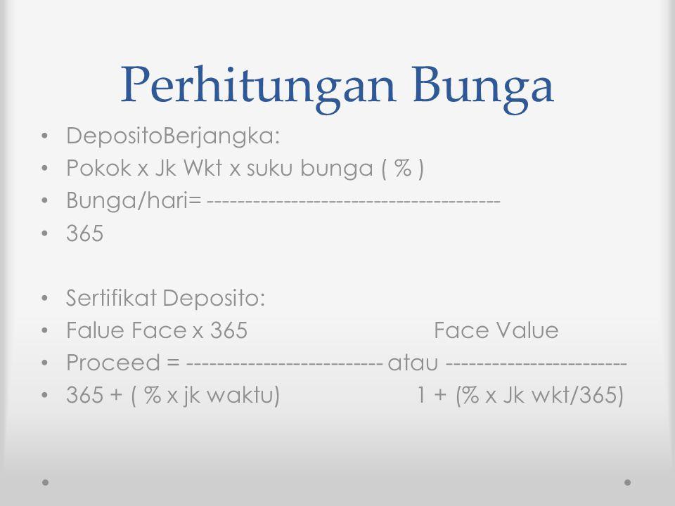 Perhitungan Bunga DepositoBerjangka: Pokok x Jk Wkt x suku bunga ( % ) Bunga/hari= --------------------------------------- 365 Sertifikat Deposito: Fa