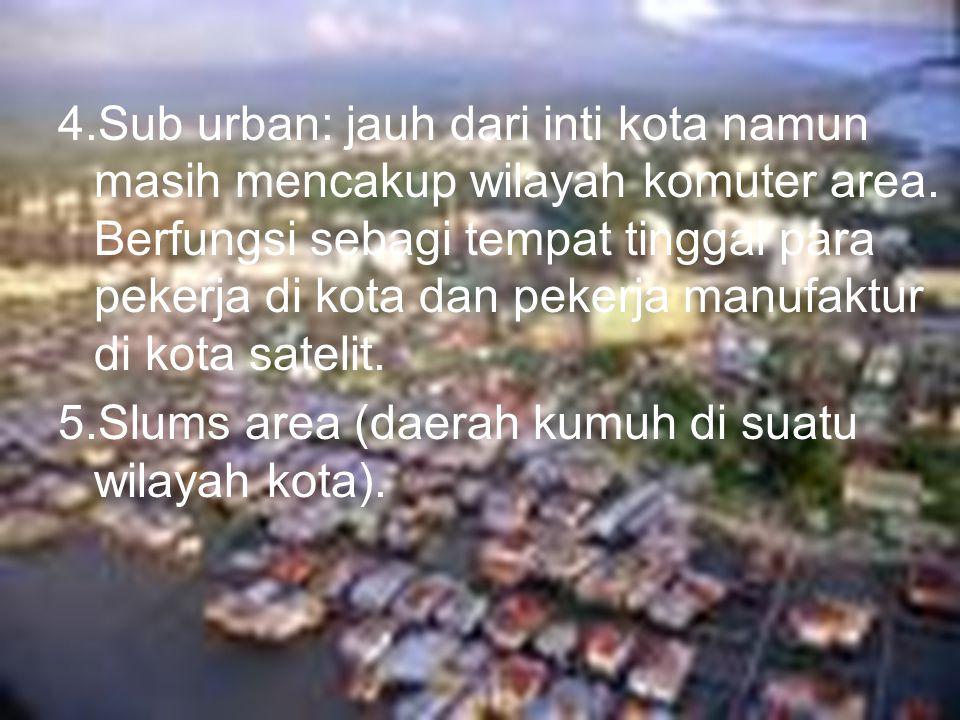 4.Sub urban: jauh dari inti kota namun masih mencakup wilayah komuter area. Berfungsi sebagi tempat tinggal para pekerja di kota dan pekerja manufaktu