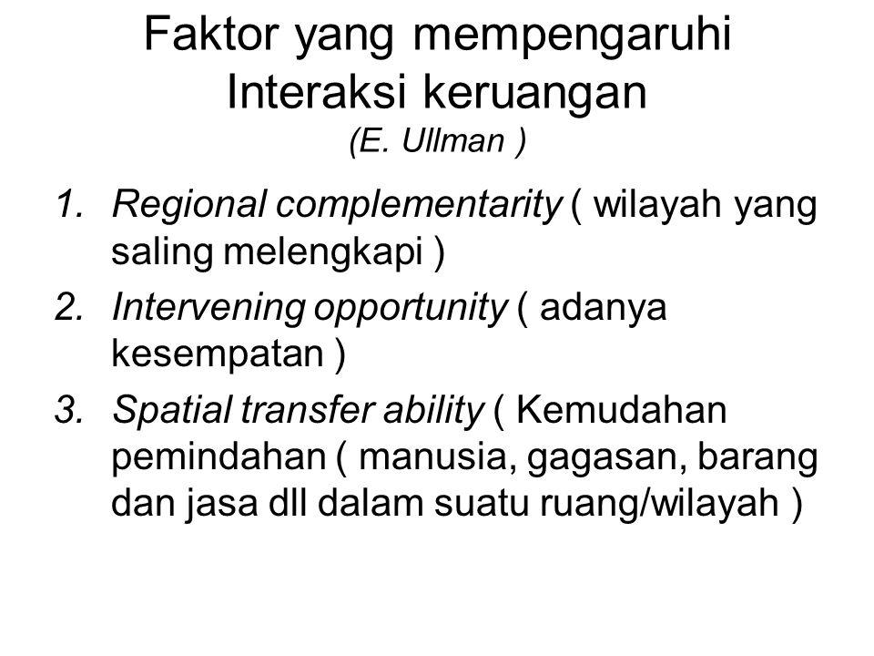 Faktor yang mempengaruhi Interaksi keruangan (E. Ullman ) 1.Regional complementarity ( wilayah yang saling melengkapi ) 2.Intervening opportunity ( ad