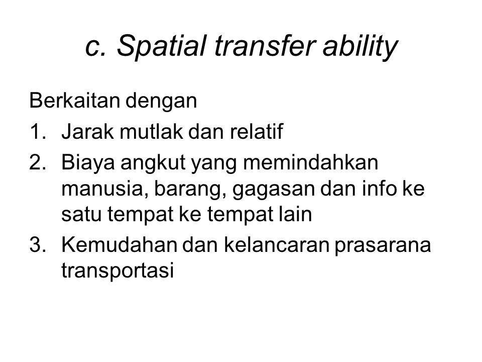 c. Spatial transfer ability Berkaitan dengan 1.Jarak mutlak dan relatif 2.Biaya angkut yang memindahkan manusia, barang, gagasan dan info ke satu temp