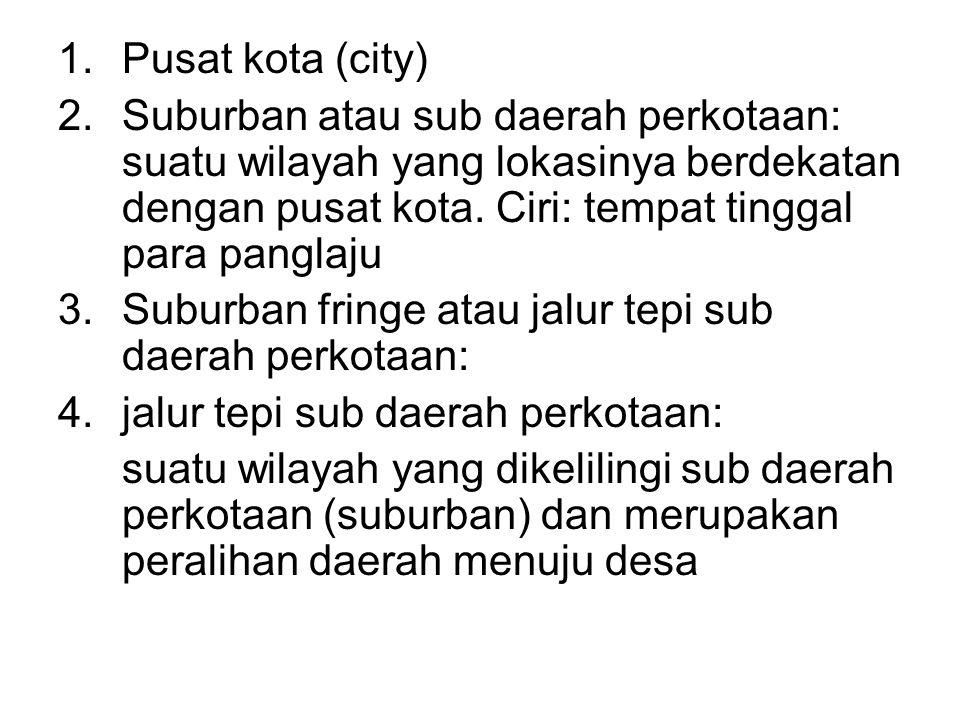 1.Pusat kota (city) 2.Suburban atau sub daerah perkotaan: suatu wilayah yang lokasinya berdekatan dengan pusat kota. Ciri: tempat tinggal para panglaj