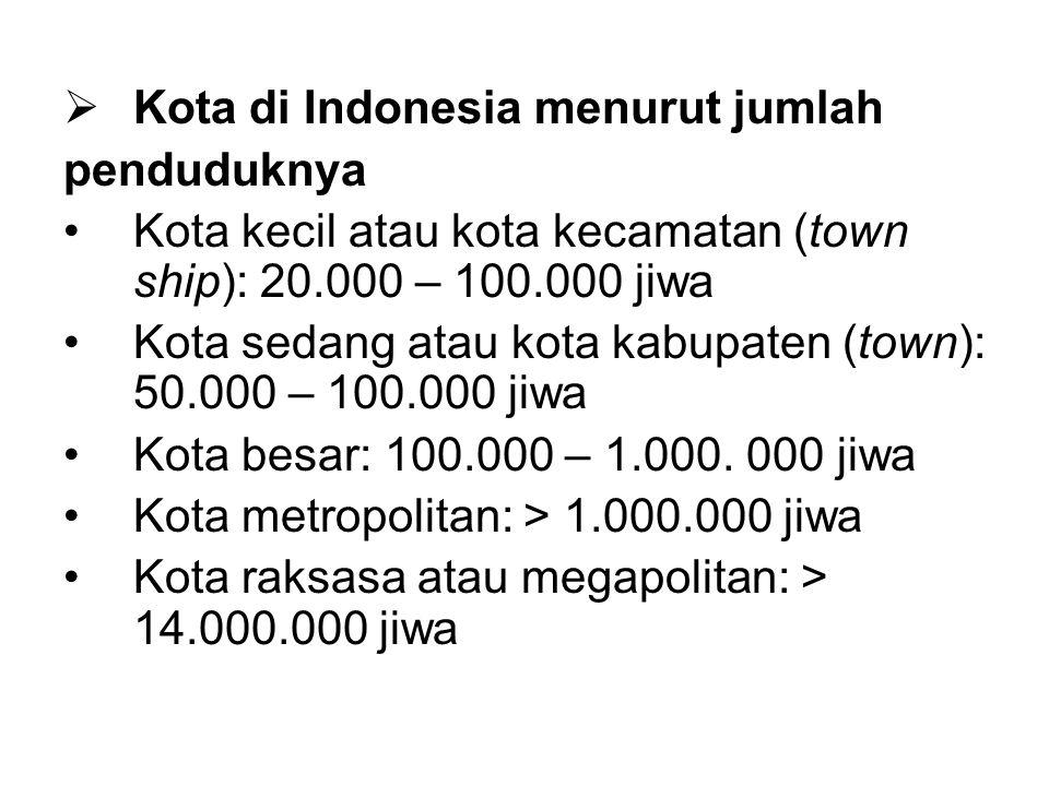  Kota di Indonesia menurut jumlah penduduknya Kota kecil atau kota kecamatan (town ship): 20.000 – 100.000 jiwa Kota sedang atau kota kabupaten (town): 50.000 – 100.000 jiwa Kota besar: 100.000 – 1.000.