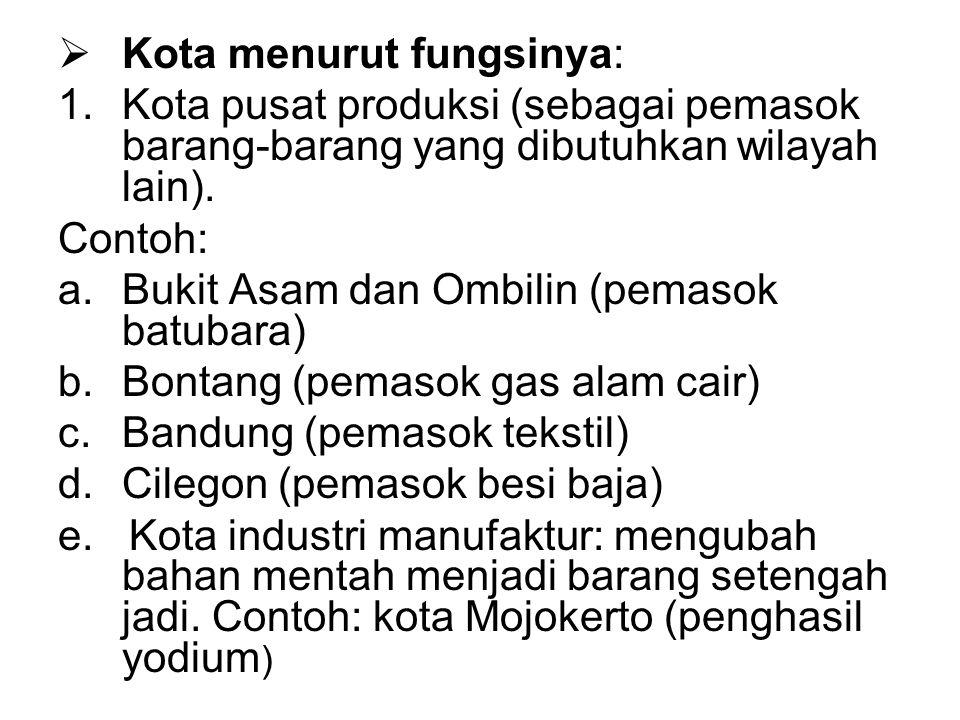  Kota menurut fungsinya: 1.Kota pusat produksi (sebagai pemasok barang-barang yang dibutuhkan wilayah lain). Contoh: a.Bukit Asam dan Ombilin (pemaso