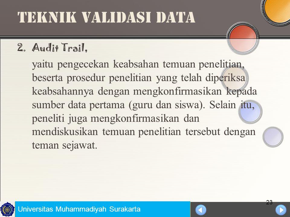 Universitas Negeri Jakarta TEKNIK VALIDASI DATA 1.Triangulasi Data, yaitu mengecek keabsahan (validitas) data dengan mengkonfirmasikan data yang telah ada dengan data, sumber data, dan ahli untuk memastikan keabsahan data yang ada (Miles dan Huberman, 1992: Stringer, 1996).