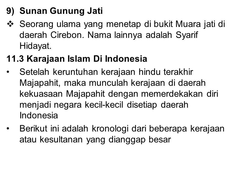 9)Sunan Gunung Jati  Seorang ulama yang menetap di bukit Muara jati di daerah Cirebon. Nama lainnya adalah Syarif Hidayat. 11.3 Karajaan Islam Di Ind
