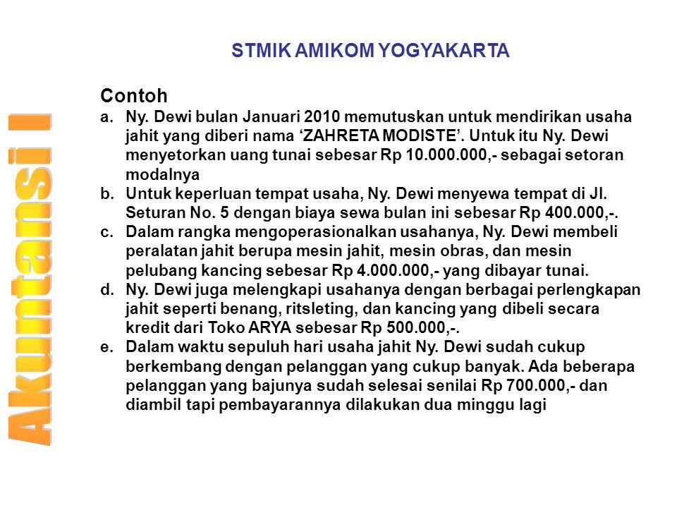 STMIK AMIKOM YOGYAKARTA Contoh a.Ny. Dewi bulan Januari 2010 memutuskan untuk mendirikan usaha jahit yang diberi nama 'ZAHRETA MODISTE'. Untuk itu Ny.