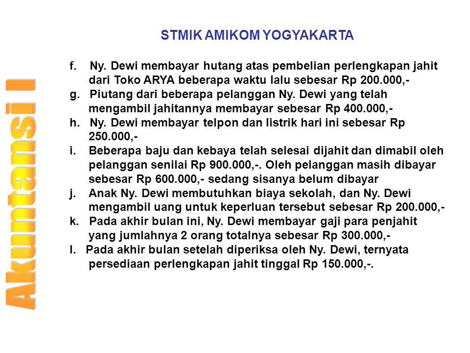 STMIK AMIKOM YOGYAKARTA f. Ny. Dewi membayar hutang atas pembelian perlengkapan jahit dari Toko ARYA beberapa waktu lalu sebesar Rp 200.000,- g. Piuta