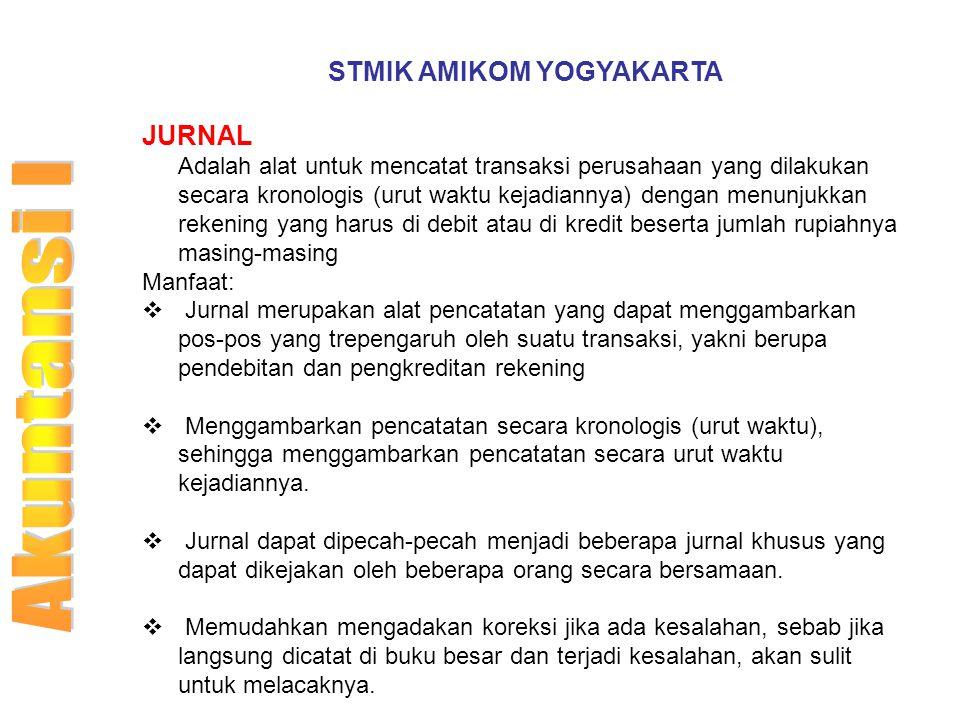 STMIK AMIKOM YOGYAKARTA JURNAL Adalah alat untuk mencatat transaksi perusahaan yang dilakukan secara kronologis (urut waktu kejadiannya) dengan menunj