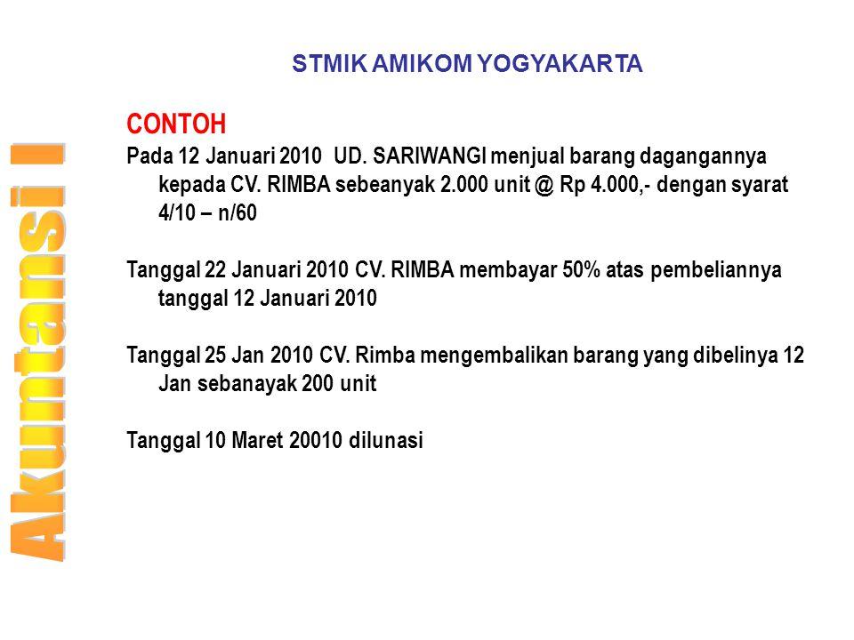 STMIK AMIKOM YOGYAKARTA CONTOH Pada 12 Januari 2010 UD. SARIWANGI menjual barang dagangannya kepada CV. RIMBA sebeanyak 2.000 unit @ Rp 4.000,- dengan
