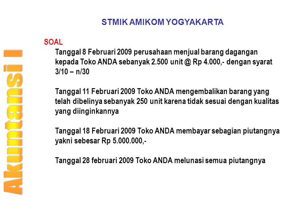 STMIK AMIKOM YOGYAKARTA SOAL Tanggal 8 Februari 2009 perusahaan menjual barang dagangan kepada Toko ANDA sebanyak 2.500 unit @ Rp 4.000,- dengan syara