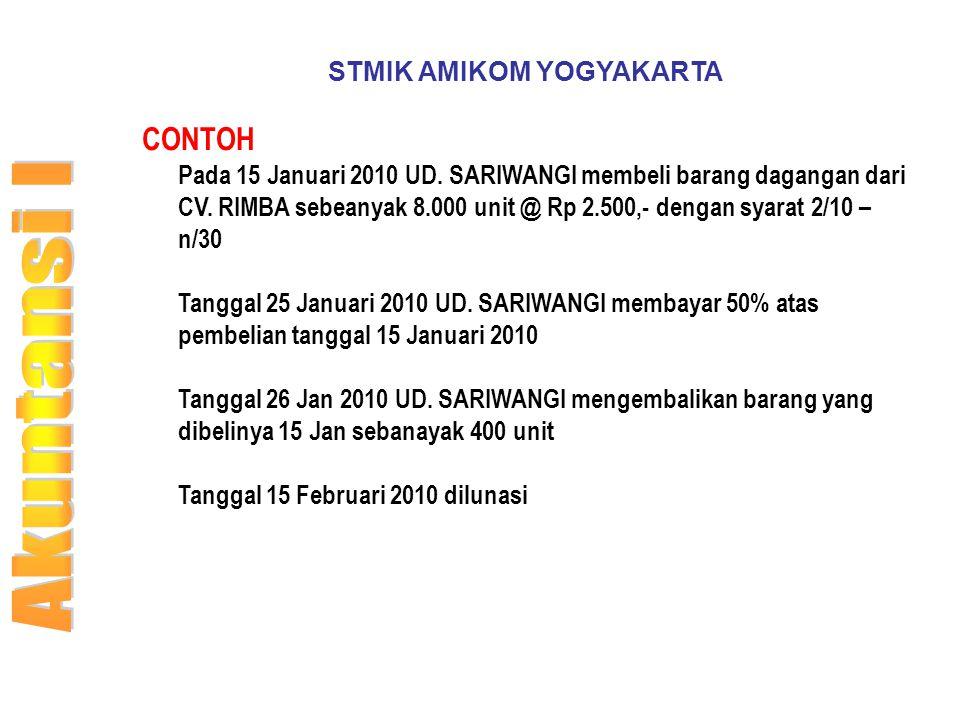 STMIK AMIKOM YOGYAKARTA CONTOH Pada 15 Januari 2010 UD. SARIWANGI membeli barang dagangan dari CV. RIMBA sebeanyak 8.000 unit @ Rp 2.500,- dengan syar
