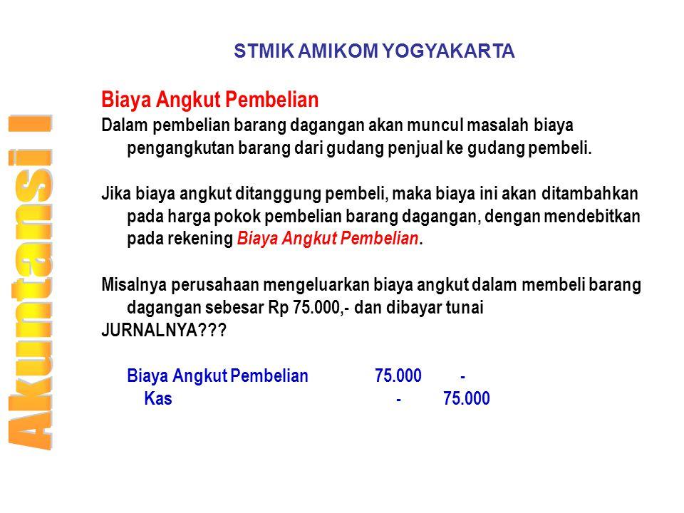STMIK AMIKOM YOGYAKARTA Biaya Angkut Pembelian Dalam pembelian barang dagangan akan muncul masalah biaya pengangkutan barang dari gudang penjual ke gu